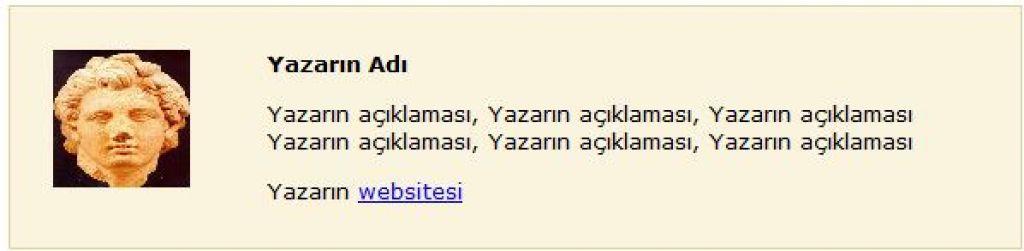 Wordpress yazar alanı